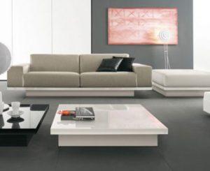 Bàn kính Sofa cao cấp màu trắng