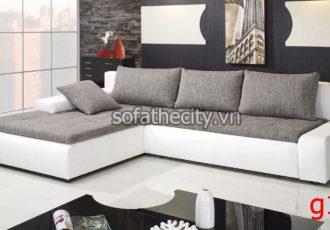 Sofa Góc Da Phối Vải