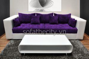 Sofa Băng Da Phối Vải