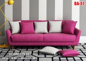 Sofa Băng Nỉ Nhung Màu Tím Hồng