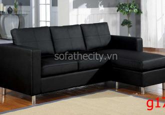 Sofa Góc Giả Da Màu Đen