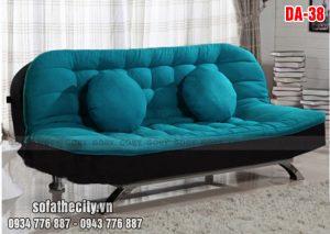 Mẫu Sofa Giường Bo Góc Màu Xanh Mềm Mại
