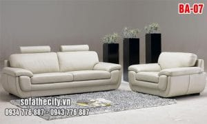 Sofa Băng Da Cao Cấp Màu Kem Giá Rẻ