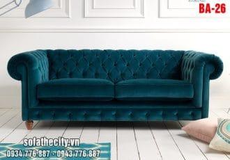 Sofa Băng Cổ Điển Màu Xanh Nhung Tuyết