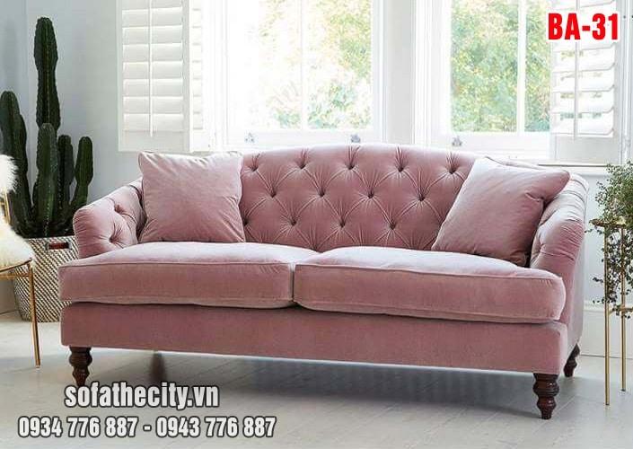 Sofa Băng Cổ Điển Màu Hồng