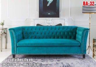 Sofa Băng Cổ Điển Màu Xanh