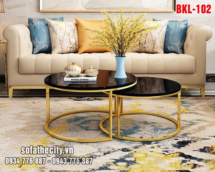 Bàn Sofa Cặp Inox Mạ Vàng Đẹp