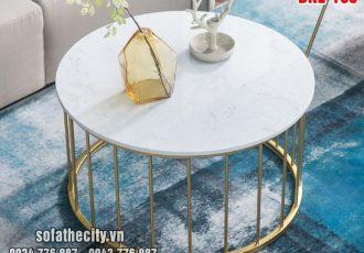 Bàn Sofa Tròn Inox Mạ Vàng Titan