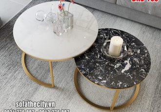 Bàn Sofa Cặp Mạ Vàng Đá Marble Đẳng Cấp