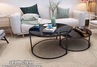 Bàn Sofa Cặp Mặt Kính Đen