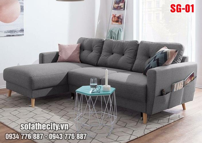 Sofa góc nhỏ xinh màu xám