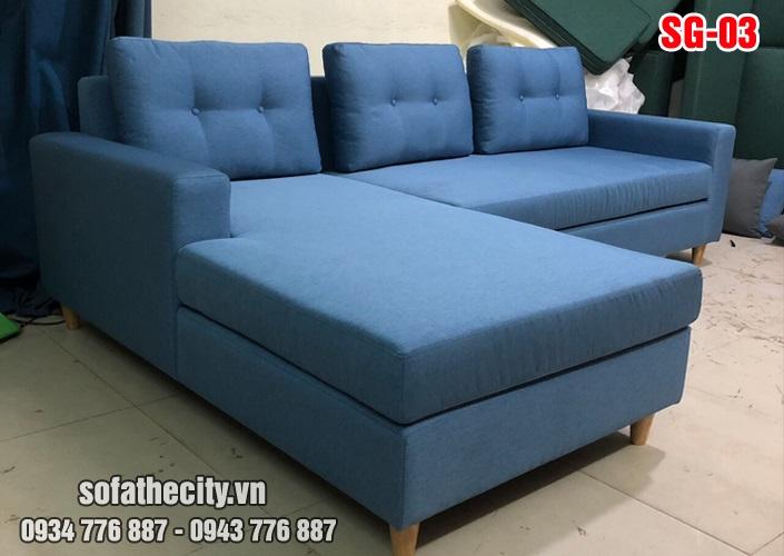 Sofa góc màu xanh cực đẹp