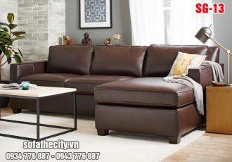 Sofa Góc Gỉa Da Màu Nâu