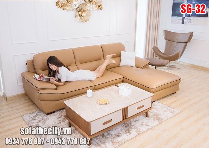 Sofa phòng khách da hàn quốc đẹp