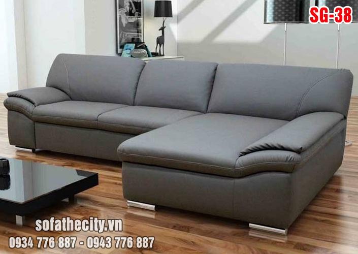 Sofa Góc Giả Da Màu Xám