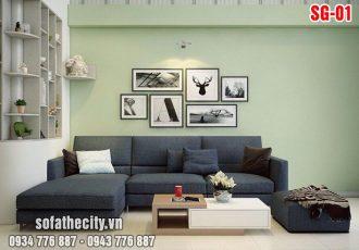 Sofa góc nhỏ xinh màu xanh