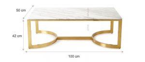 Bàn Inox Mạ Vàng Mặt Đá Cao Cấp – BKL 117