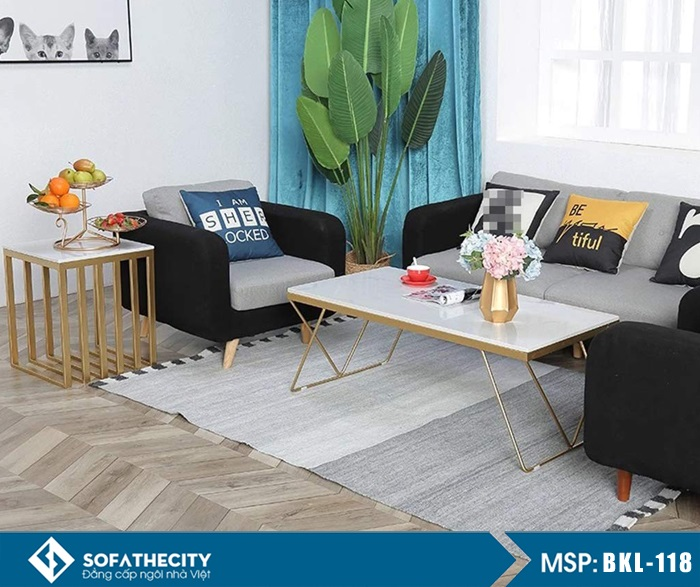 bàn sofa chân inox mạ vàng mặt đá
