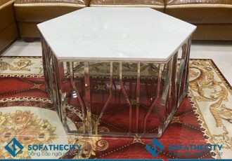 Bàn Trà Phòng Khách Mặt Đá Khung Chân Inox Giá Rẻ – BKL 128
