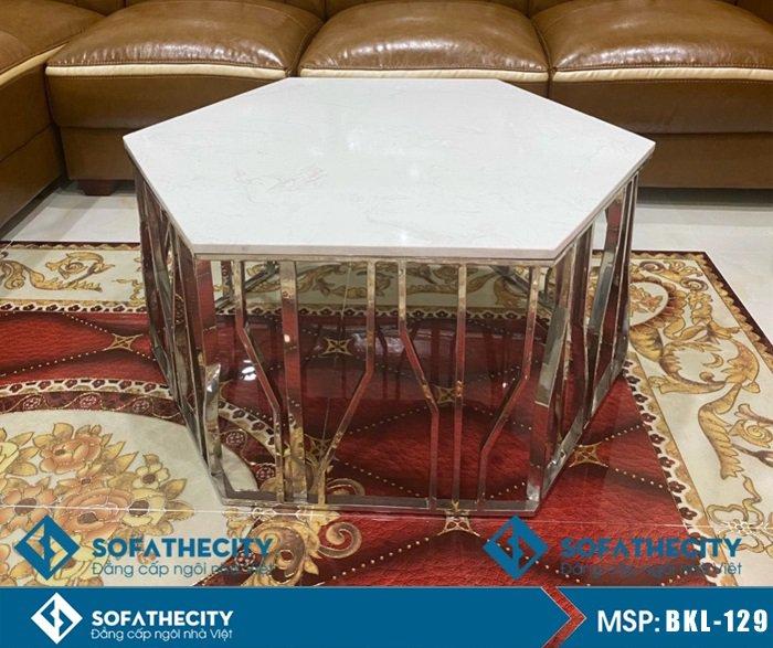 Bàn Sofa Mặt Đá Phòng Khách Khung Inox – BKL 129